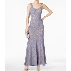 Betsy & Adam Blue Gray Lace Sparkle Formal Gown 8
